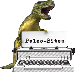 Dinosaur over an old typewriter with words, Paleo-Bites Blog